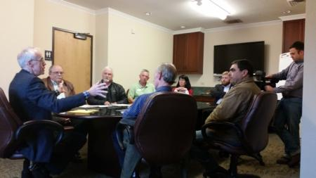 Photo: Bud meeting with Bay Area Chamber of Commerce in Coos Bay.