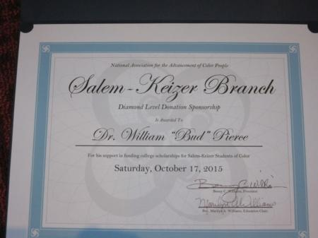 Photo: Certificate acknowledging Bud for his support of the NAACP.