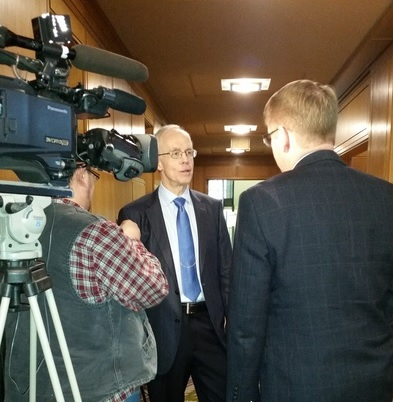 Photo: Bud being interviewed at the Oregon Capitol.
