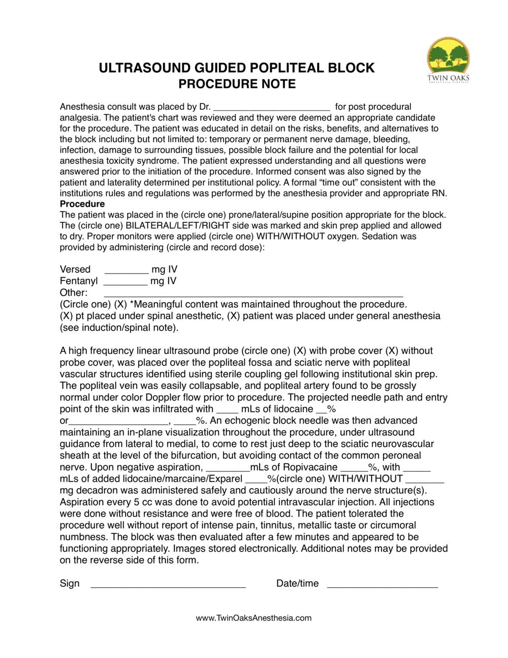 Popliteal block Procedure Form.png