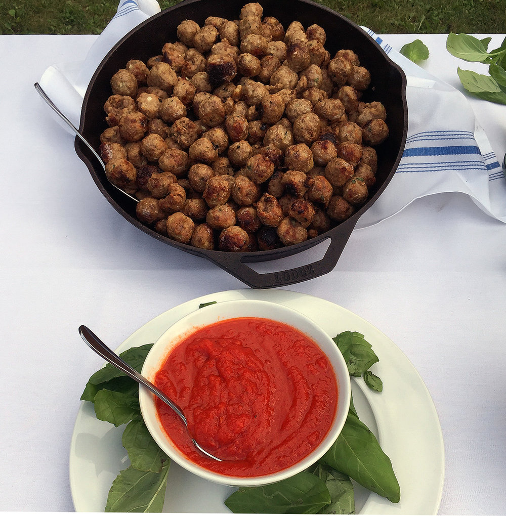 Meatballs   Made with local beef & pork and a traditional blend of Italian herbs and spices, roasted in the oven.