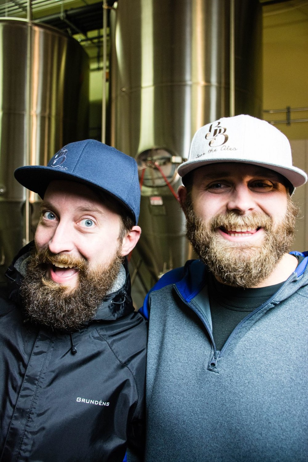 Fitted Caps   Take your pick, Matt (Distribution Manager) or Casey (Ops Manager).  Matt's wearing the navy cap with grey embroidery and Casey, the beige with light brown embroidery.