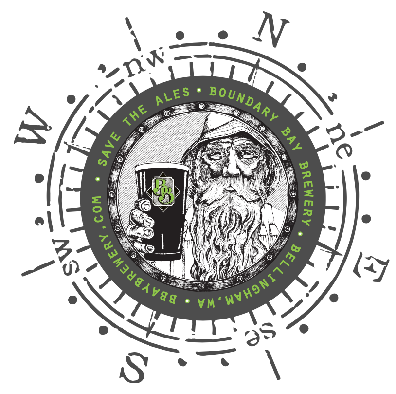 "Nautical Old Man Logo Redesign   For Boundary Bay Brewery's 20th anniversary I wanted to do something to spruce up their original ""Old Man"" logo.  Intending to highlight Boundary's nautical roots, I modified the black and white image to include a compass and a touch of green to make the logo pop."