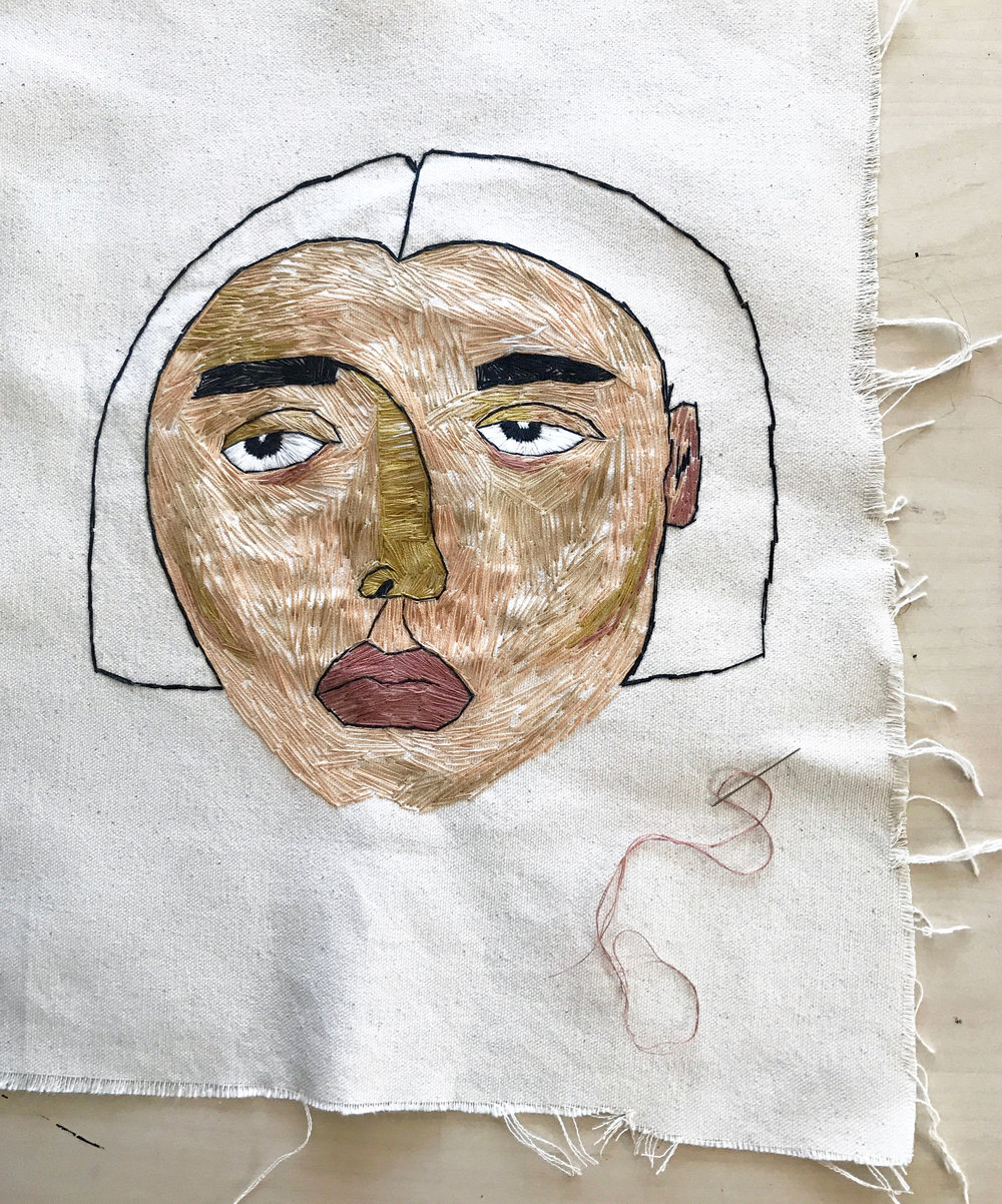 "Untitled portrait, 8x10"", Hand embroidered on fabric, 2017"