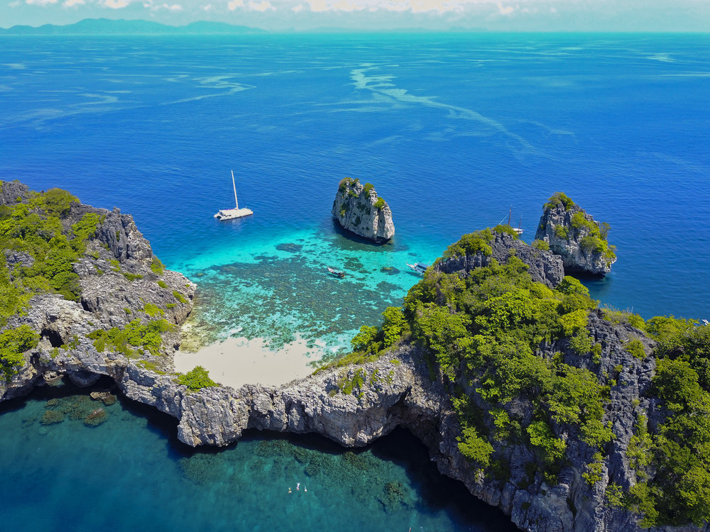 Thailand Koh Ha Sailing Islands Beach Bay Sailboat Aerial - DJI0052 Lg RGB.jpg