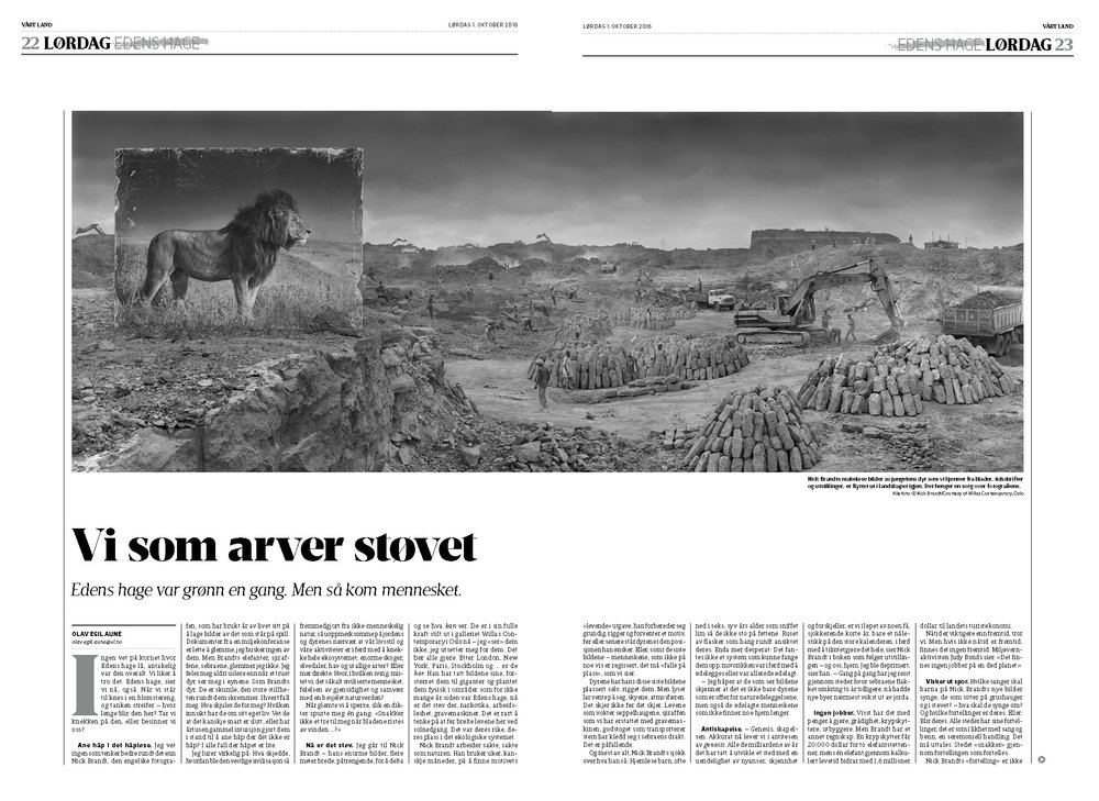Inherit the Dust by Nick Brandt 4 pages article in Vårt Land