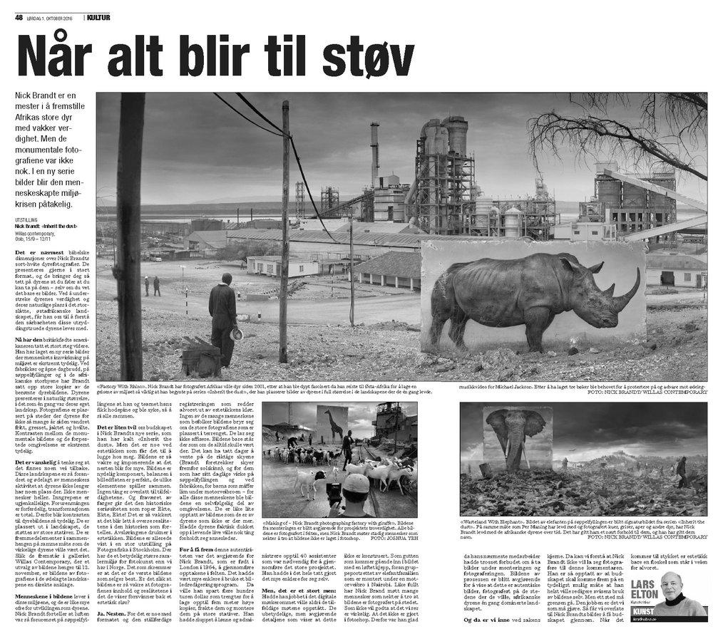 Inherit the Dust by Nick Brandt featured in Dagsavisen - by Lars Elton
