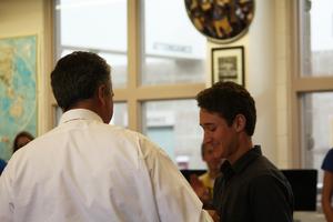 Senior Landon Yanez is given an award by Principle Greg Gotchey.