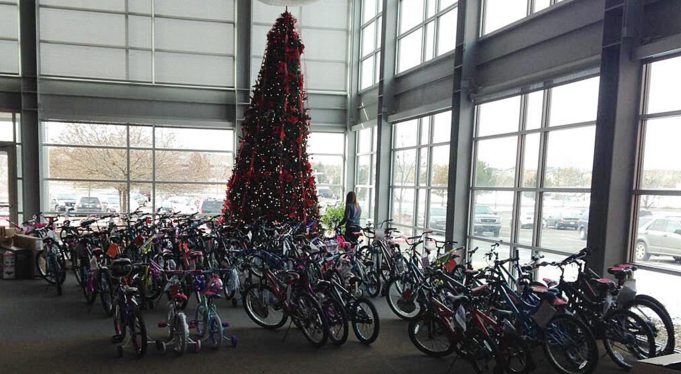 Donations of kids bikes for the holiday season. Courtesy of Southeast Christian Church.