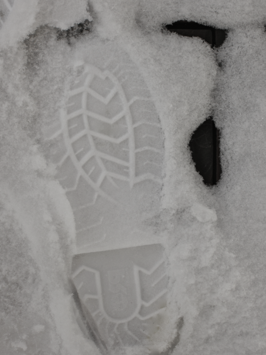 A footprint marks the fresh snow in 2016.