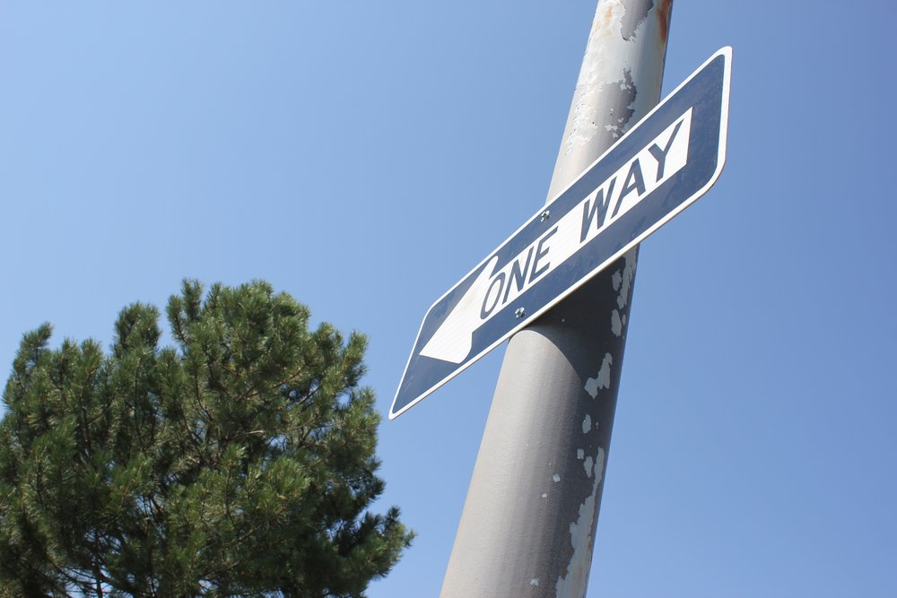 One Way Sign in the Junior Parking Lot