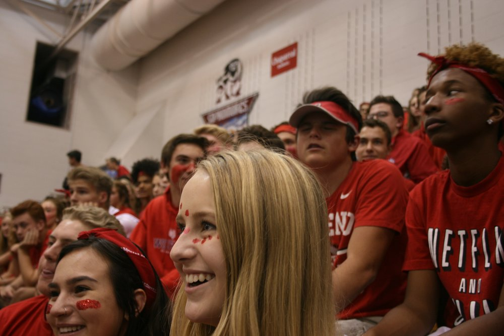 Sophmores enjoy the homecoming assembly. Photo by Erica Grotts
