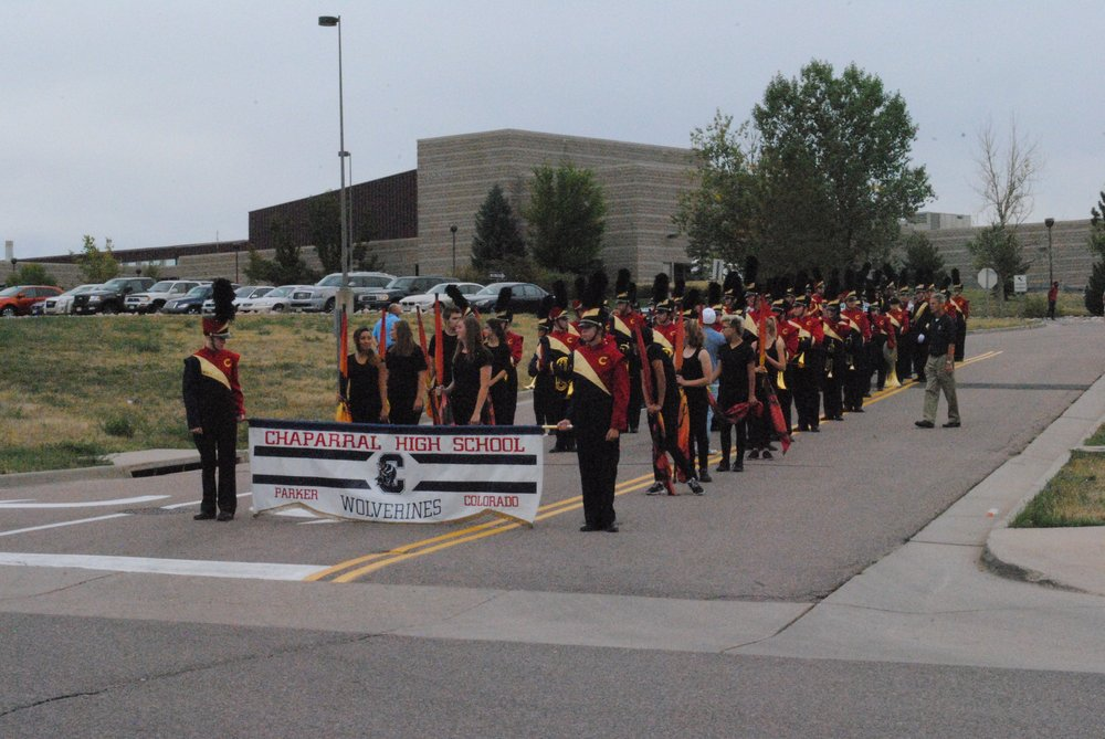 The Chaparral High School marching band leads the homecoming parade. Photo by Aubrey Bowlus