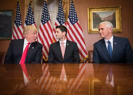 Donald Trump, Mike Pence, and Paul Ryan Discussing Certain Affairs