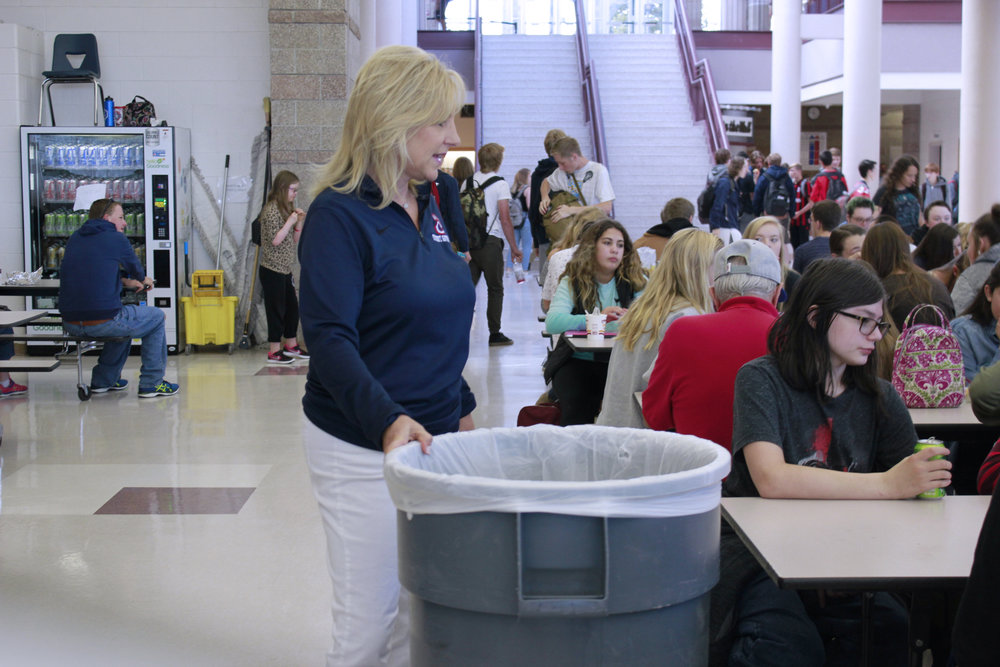 Activities Director Trish Riddle working hard during lunch duty. Photo by Jaci Stickrod