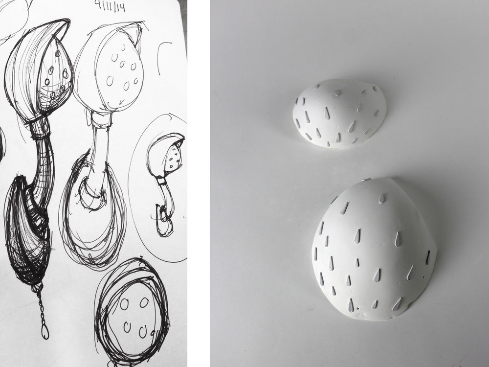 FLUIDITY's visual language emulates the motion of water droplets down a surface. For prototypes, I vacuum formed plastic around a plaster mold, but slumping glass would be ideal for mass manufacturing the same form in a high end material and increase the radius of the droplet edges, creating a more organic effect.