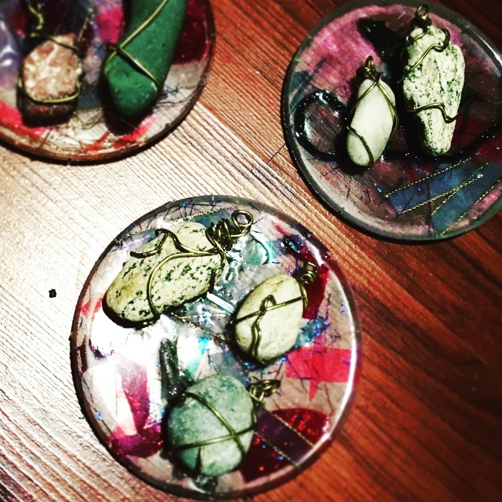 Wire Wrapped Stones And Resin Cast Coasters Ray Fontaine Create - Create coasters from photos