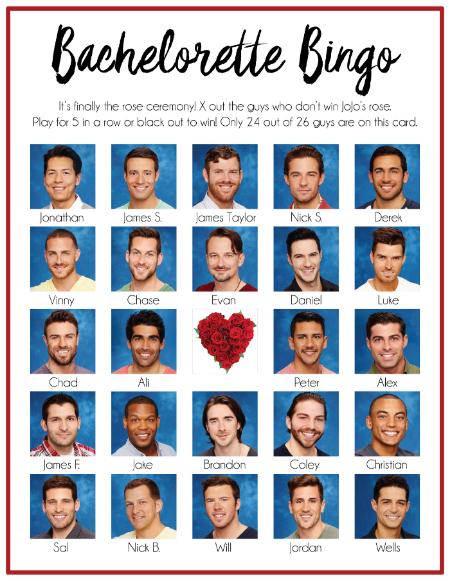 Bachelorette Bingo Card