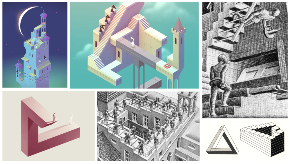 Compiled mood board inspired by Monument Valley and optical illusions.