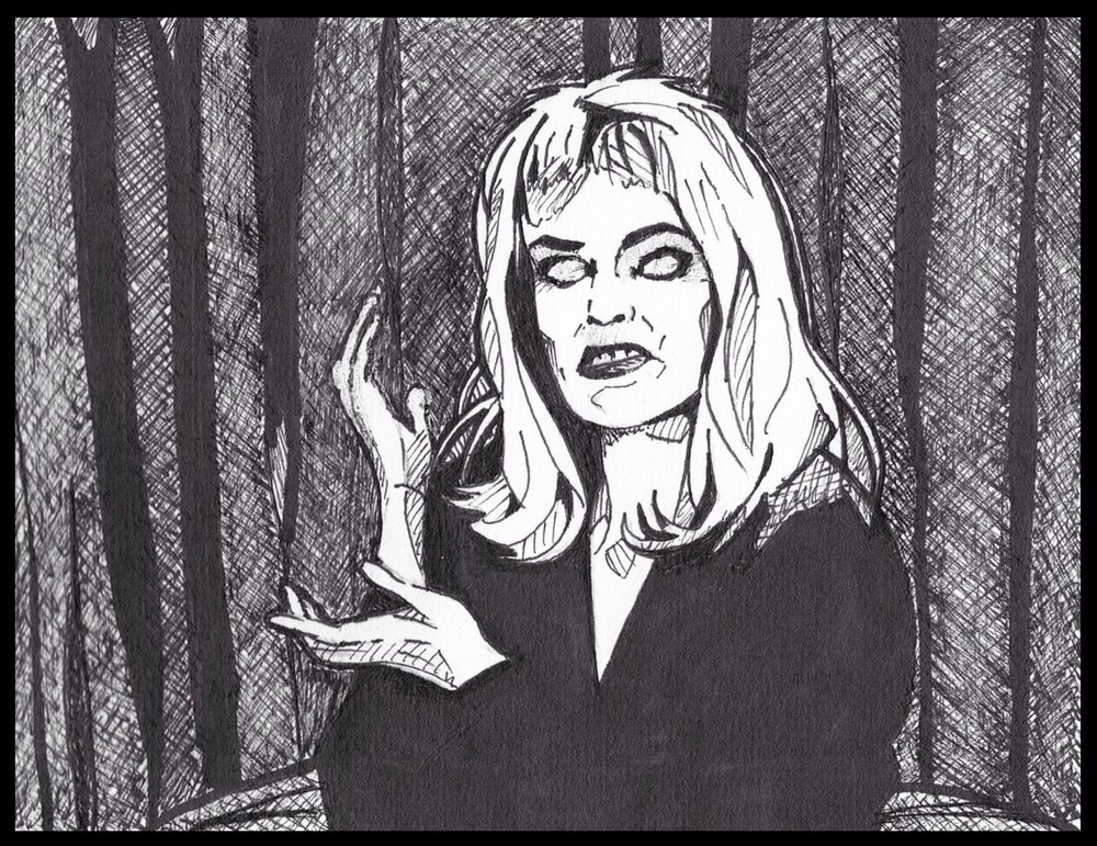 "from my sketchbook:  Laura Palmer's Doppleganger , day 8 drawing 2, sharpie marker & micron pen on 5""x7"" paper. (internet photo reference)"