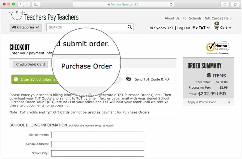 how to send a purchase order