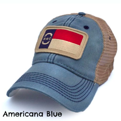 Americana Blue North Carolina Flag Patch Trucker Hat