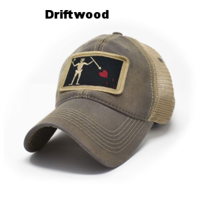 4aa25cc95fc53f State Legacy Revival - Blackbeard Pirate Flag Trucker Hat - Driftwood —  Carolina Store