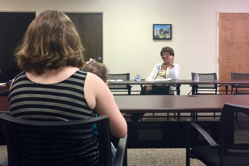 Congresswoman Walorski speaks with a mother who receives services from Family & Children's Center in St. Joseph County.