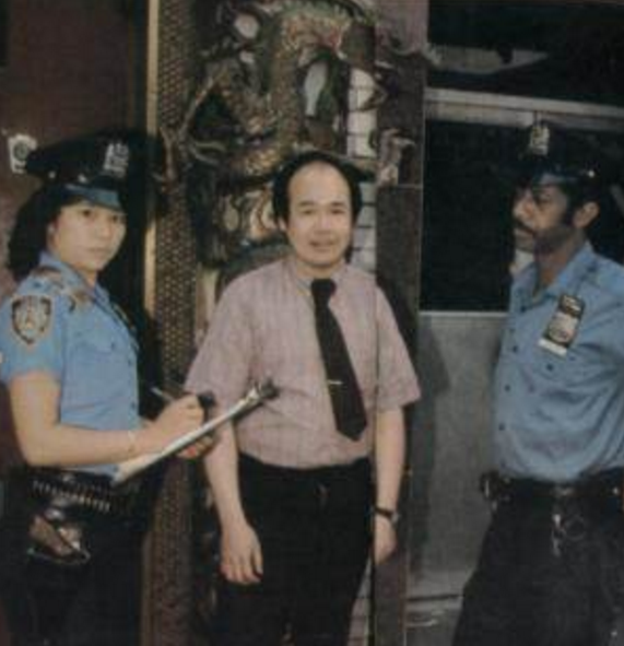 Chan, with Police Officer Sonny Carter and a Chinatown business owner, in 1981.   Courtesy Agnes Chan