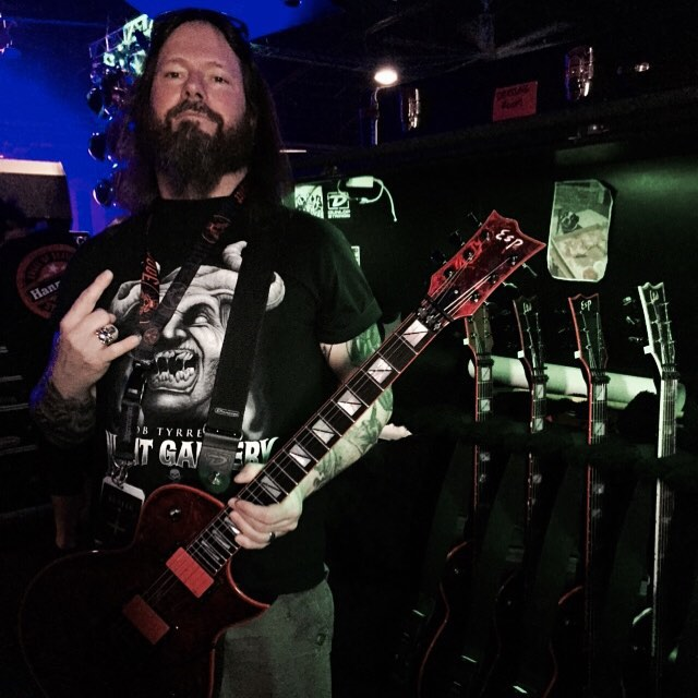 @garyholtofficial with his arsenal of @espguitars at soundcheck in Asheville NC July 28th. #esp #dunlopstrings #emgpickups