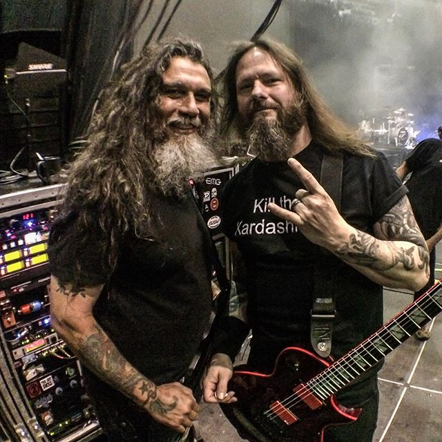 Tom Araya and Gary Holt just before hitting the stage and shredding the faces off SLAYER fans in Bristow, VA., July 24, 2015 #SLAYER2015 #REPENTLESS