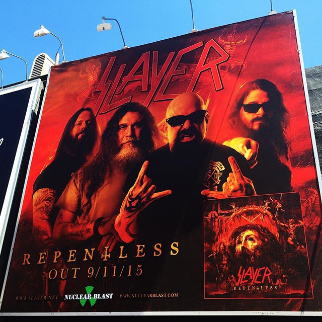 REPENTLESS - OUT 9/11. If you're in West Hollywood, drop by the SLAYER billboard on Sunset Blvd between @rainbowbarandgrill and @theroxy. Take a pic and tag @slayerbandofficial using #Repentless.