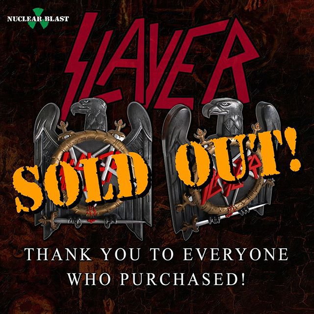All 3,000 Slayer #Repentless Metal Eagle Editions are now sold out worldwide!  Thanks to everyone who ordered their copy. Keep an eye on your mailbox - Out 9/11 \m/