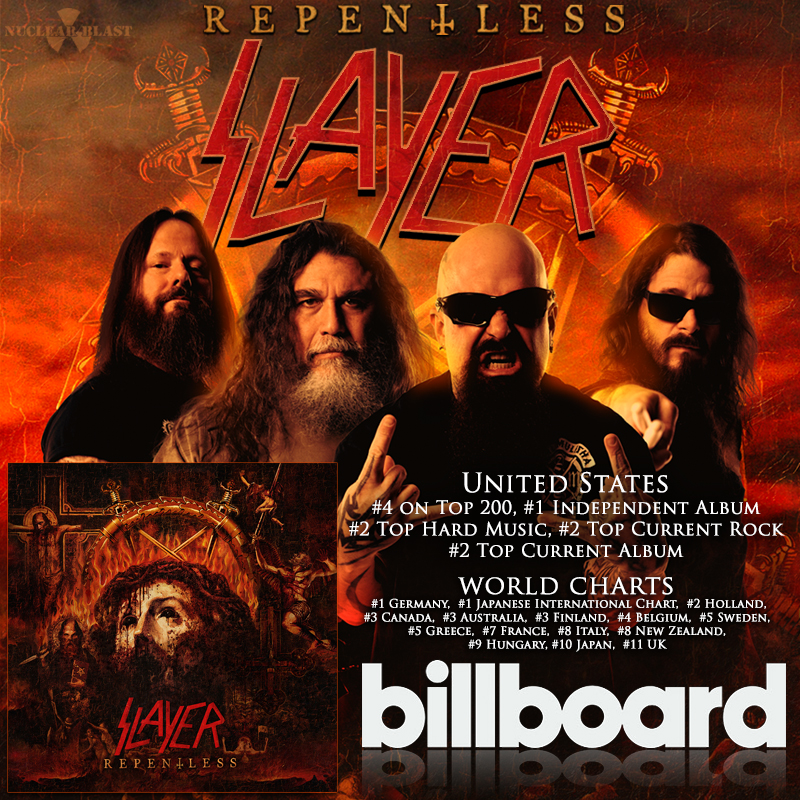 806ebdc3abcdb SLAYER s  REPENTLESS  CRACKS BILLBOARD U.S. TOP 5 — Slayer ...