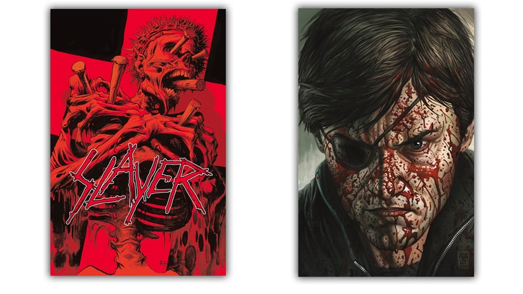 The variant cover (left) and regular cover of Slayer's upcoming comic book.