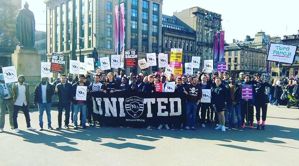 There was a good turn out to represent United Glasgow FC at the UN Anti-Racism demonstration earlier in the day.
