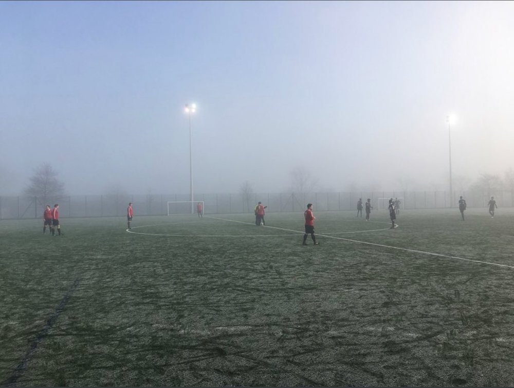 Frosty conditions at Springburn Park as the Men's Development Team play Harmony Row.