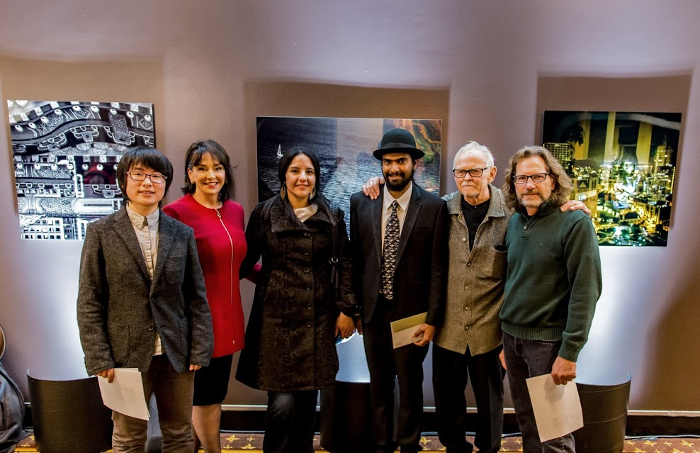 From left to right: Qianwen (Candi) Jiang with Dr. Elisa Stephens (Academy of Art University President), Analia (Ana) Gutierrez, Kushal Kapoor, Jim Wood (Executive Director), Will Mosgrove (former Director of Graduate Photography).