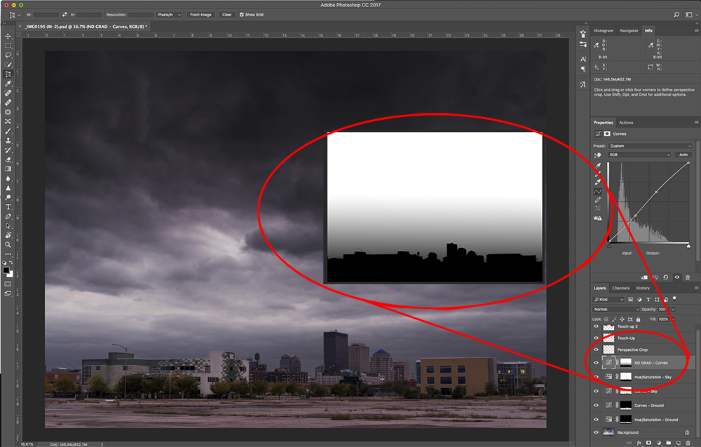 Simulating a Graduated Neutral Density Filter Using a PS Adjustment Layer