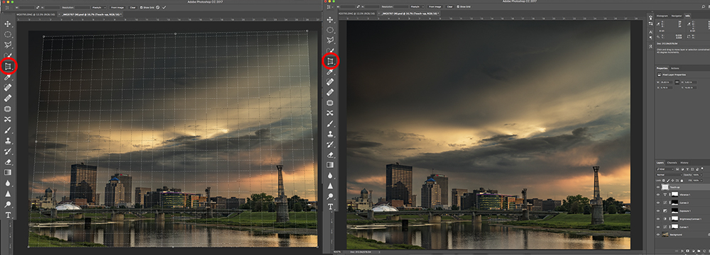 Perspective Crop Tool, Before & After
