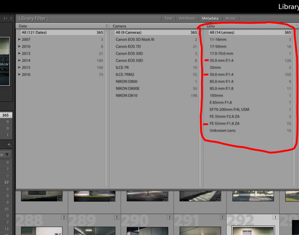 My portfolio and metadata in Lightroom