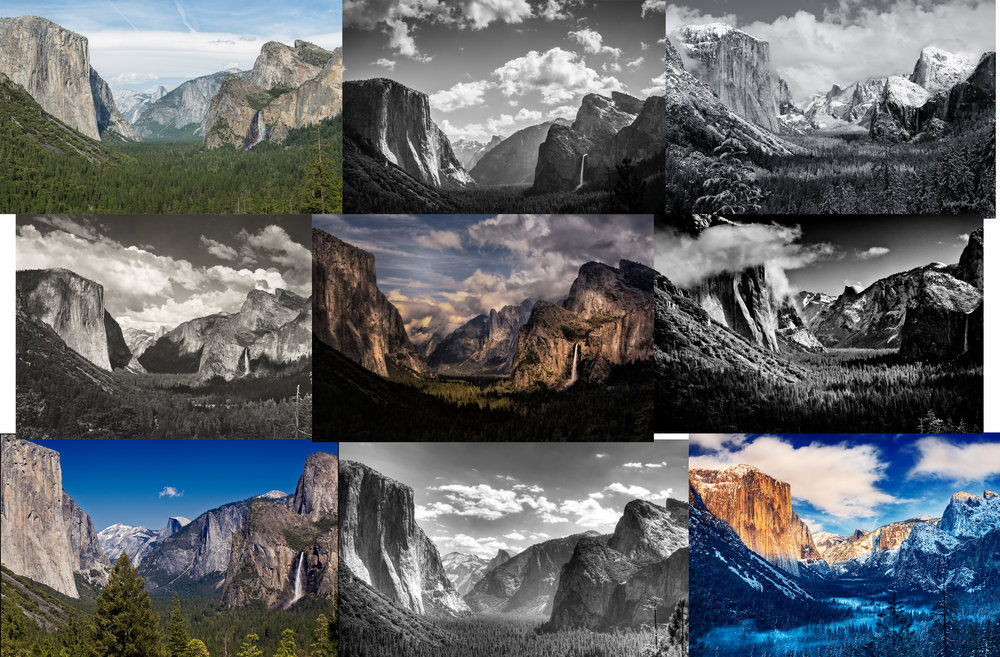 Some of the many recreations of the same scene by different photographers. Can you spot which one is Ansel Adams? Don't worry, only one here is his, but he did shoot this scene about a dozen times in different light and seasons.