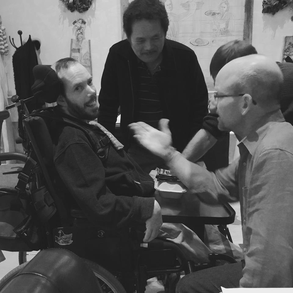 Benny with Uncle Brian (sharing a dirty joke); and Ben's caregiver, Tony  | Dianne Morton |  2016
