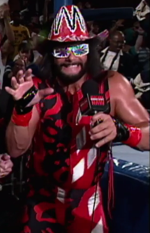 Randy Savage cosplaying as Harley Quinn.