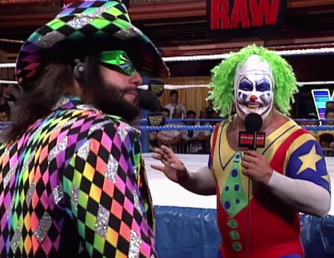 It is weird though that Doink let the Macho Man borrow one of his outfits.