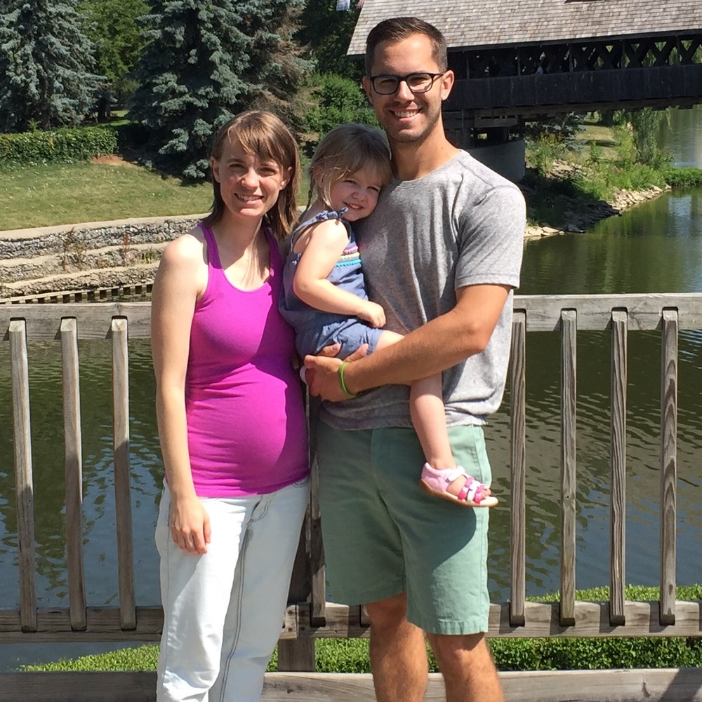Me, Madison, Piper, and our baby on the way in Frankenmuth, Michigan
