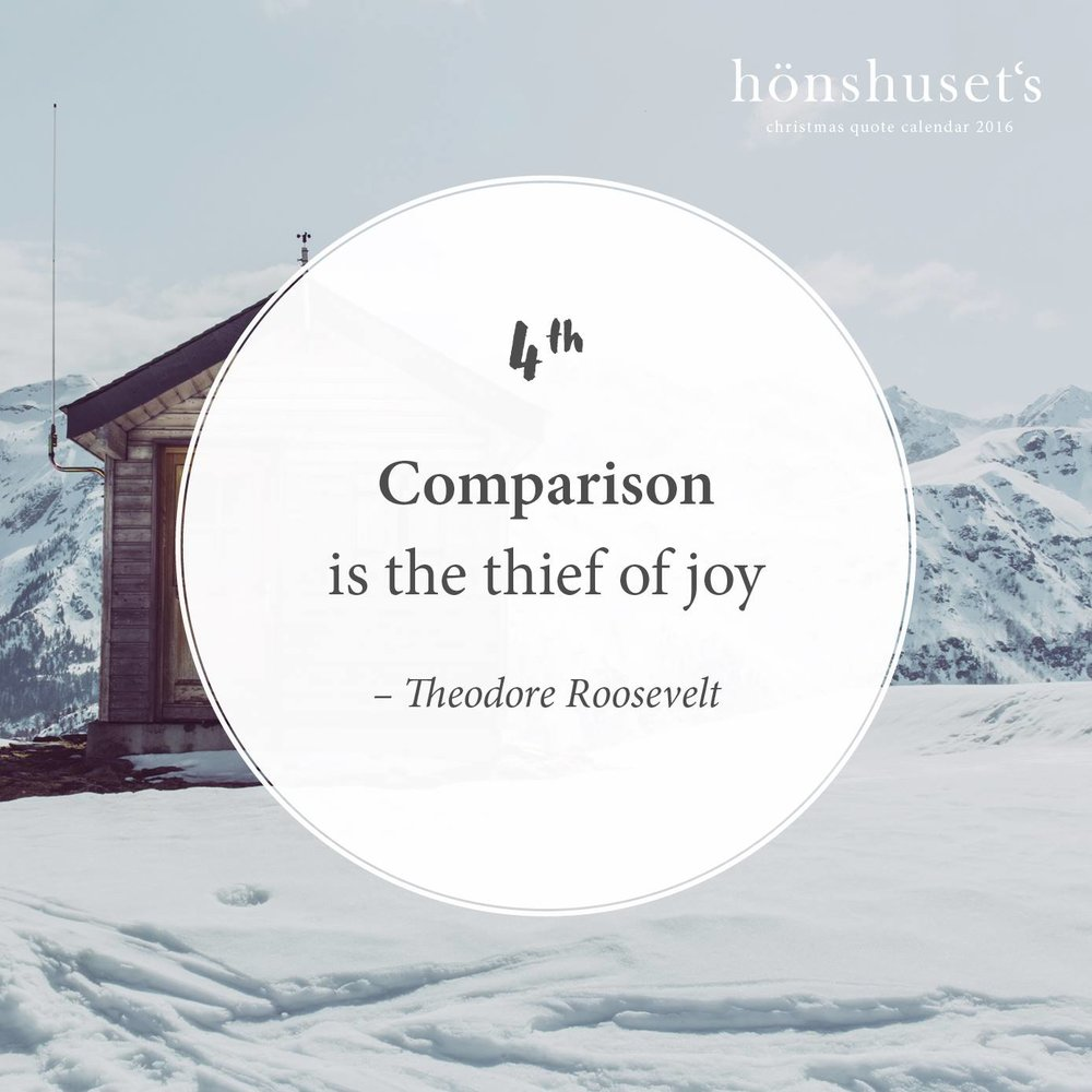 Comparison  is the thief of joy – Theodore Roosevelt