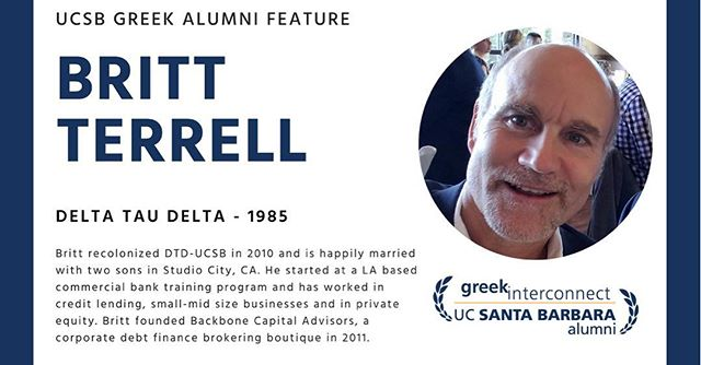 UCSB's first ever Greek Interconnect is coming up this Saturday November 11th! This is an opportunity for all fraternity and sorority collegians to connect with alumni from our community. Delta Tau Delta alumni Britt Terrell will be moderating Greek alumni panelists whom range in a variety of fields from STEM to healthcare.  Please register via the link:  https://greekinterconnect.eventbrite.com
