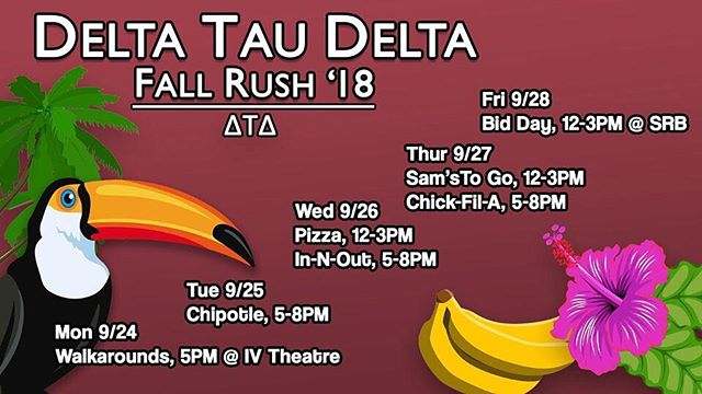 Delt is thrilled to kick off rush & announce our schedule for this week! We hope to see you there 🌴 #rushdelt