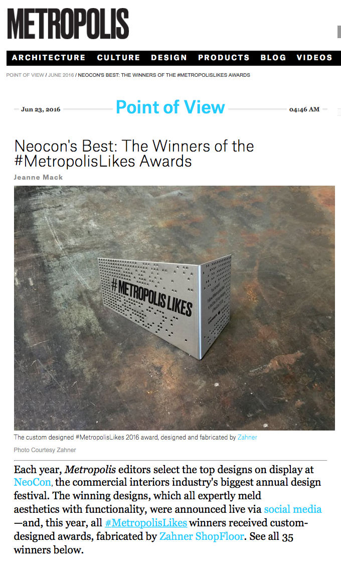 Metropolis Magazine Award @NeoCon for Butler Legs — seven02 design